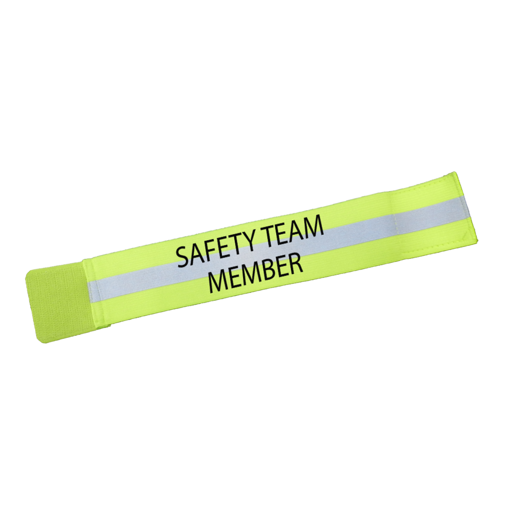 UNISEX REFLECTIVE ELASTIC ARM BAND –  SAFETY TEAM MEMBER – Lime Yellow