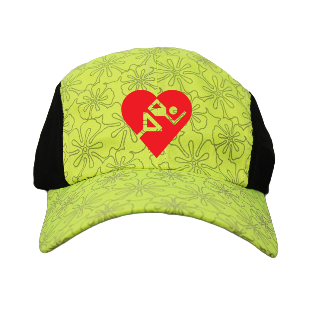 Reflective 4 Panel Hat - Cardiac Athletes .Org - Front View - Lime Yellow Floral - Red Logo