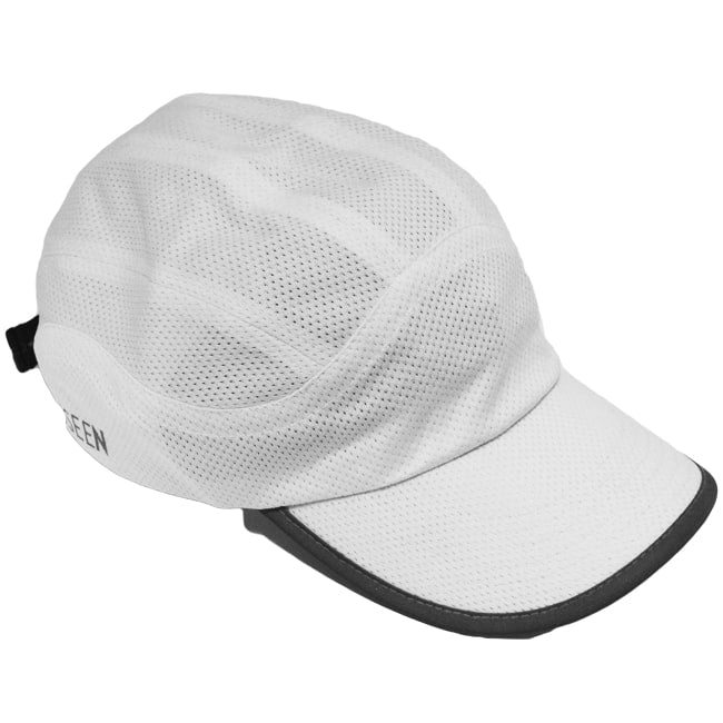 Reflective Hat - White - Mesh Runner Cap - Angled View