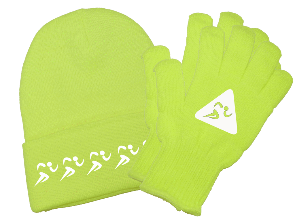 UNISEX REFLECTIVE BEANIE GLOVE COMBO – RUNNERS - Lime Yellow