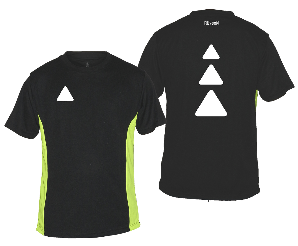 Men's Reflective Short Sleeve Shirt - Triangles - Black & Lime