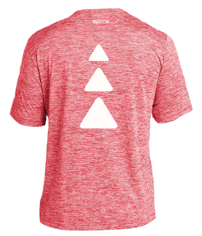 Men's Reflective Short Sleeve Shirt - Triangles - Red Heather - Back