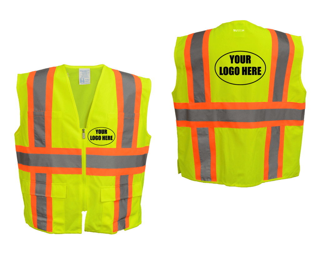 Reflective ANSI Zip 4 Pocket Vest with Logo - Lime Yellow - Orange - Combo