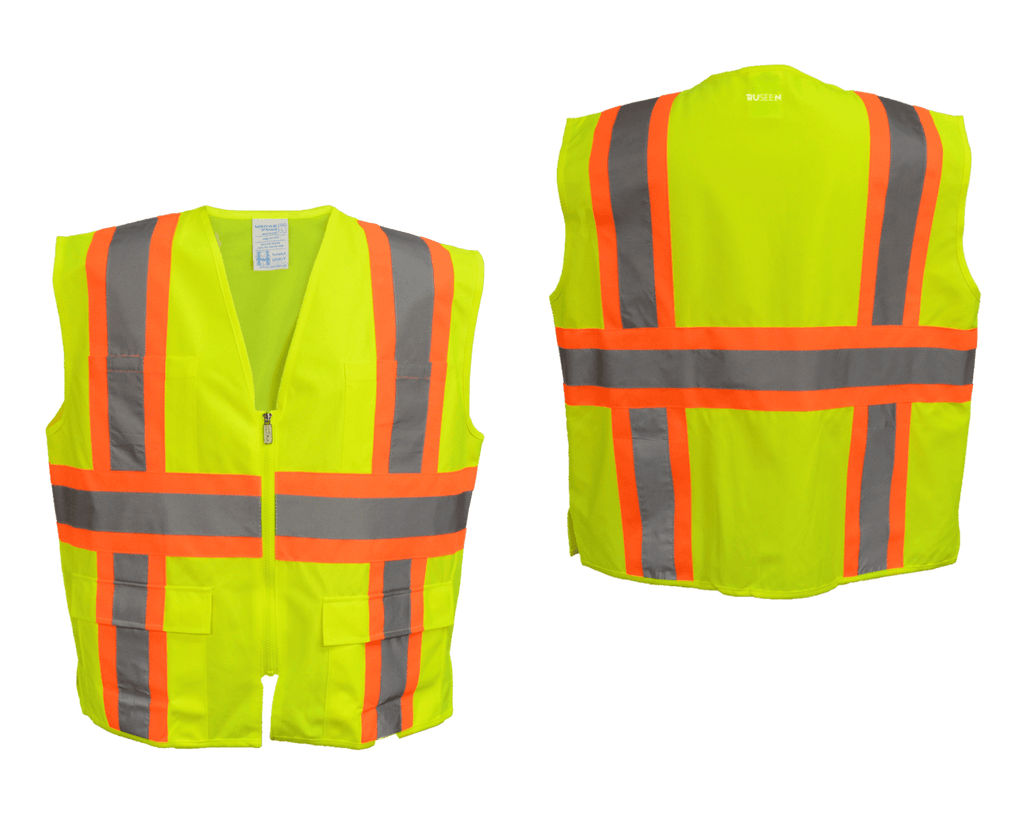 Reflective ANSI Zip 4 Pocket Vest - Lime Yellow - Orange - Front & Back