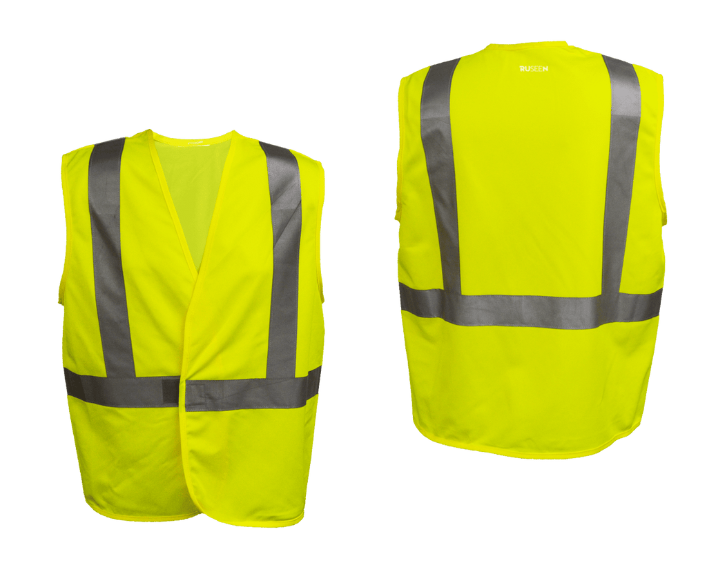 Reflective Budget ANSI Class 2 Vest - Lime Yellow - Front & Back