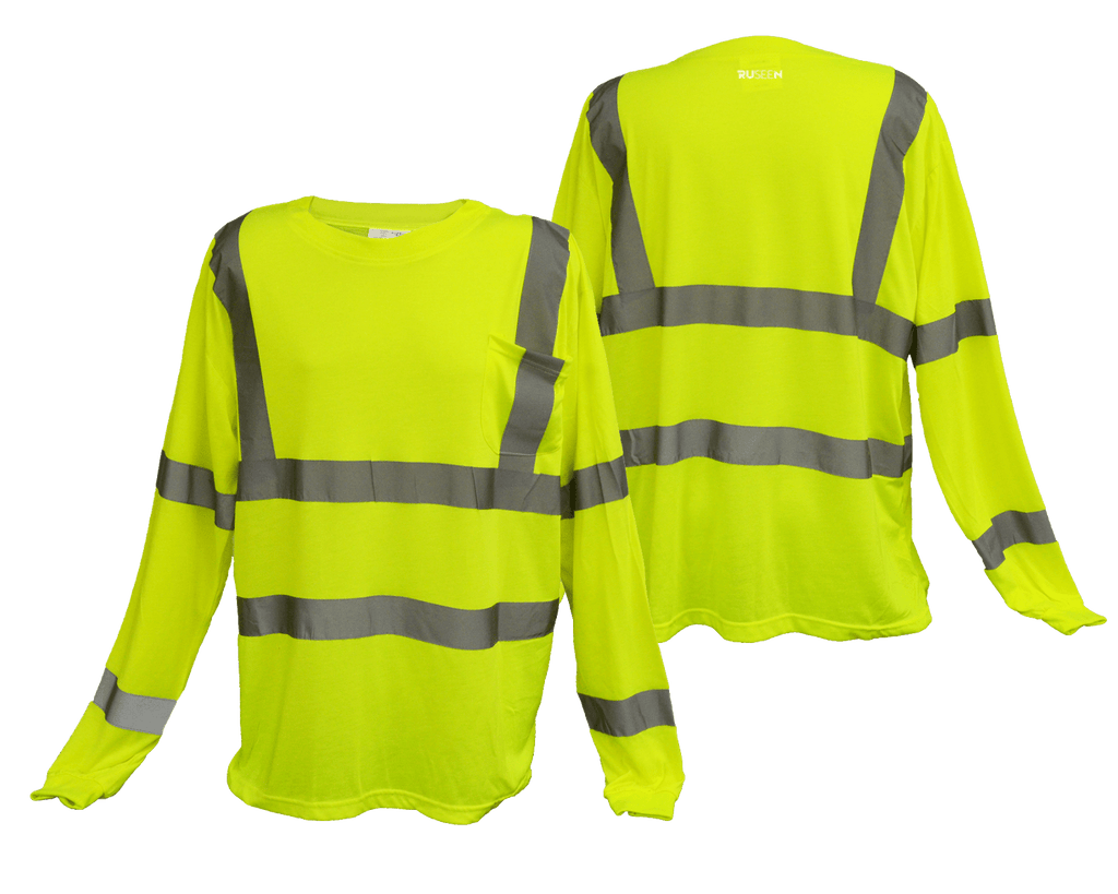 ANSI Reflective Class 3 Long Sleeve Shirt with Pocket - Lime Yellow - Front & Back