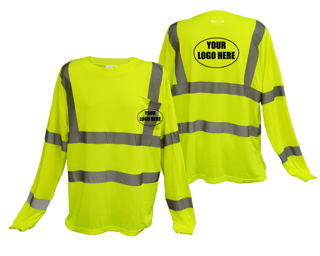 ANSI Reflective Class 3 Long Sleeve Shirt with Pocket & Logo - Lime Yellow - Front & Back