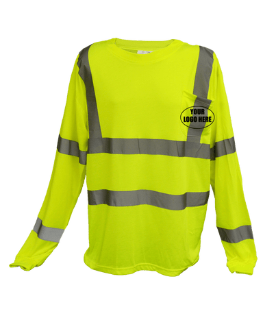 ANSI Reflective Class 3 Long Sleeve Shirt with Pocket & Logo - Lime Yellow - Front