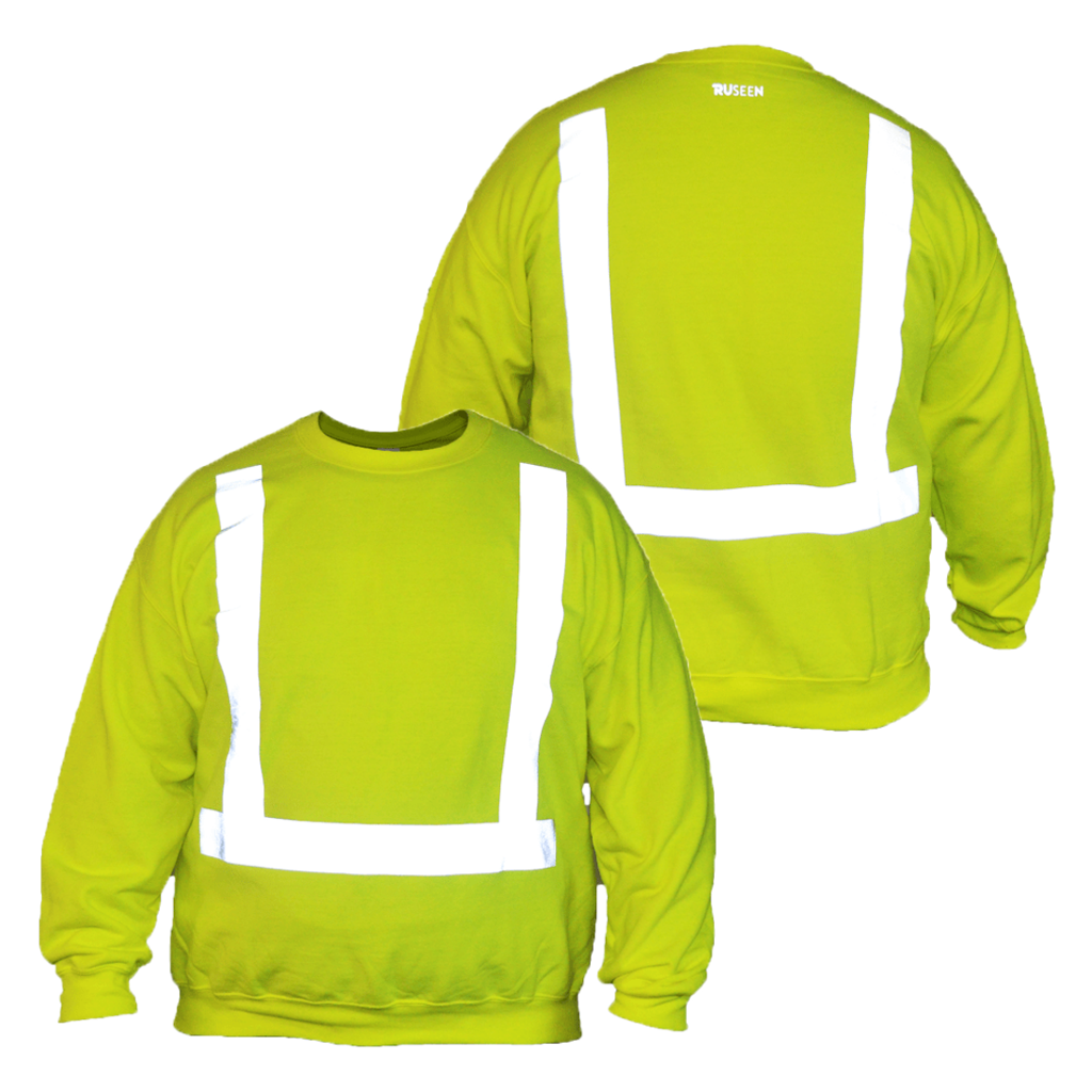 UNISEX HI VIS LONG SLEEVE SWEATSHIRT ANSI CLASS 2 - Front & Back – Lime Yellow