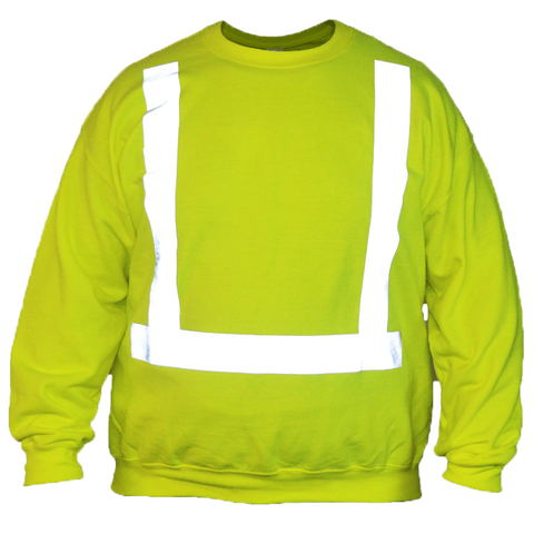 UNISEX HI VIS LONG SLEEVE SWEATSHIRT ANSI CLASS 2 - Front – Lime Yellow