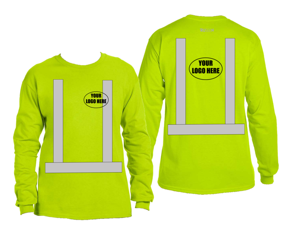 ANSI Reflective Class 3 Long Sleeve Shirt with Logo - Lime Yellow - Front & Back