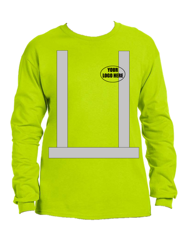 ANSI Reflective Class 3 Long Sleeve Shirt with Logo - Lime Yellow - Front