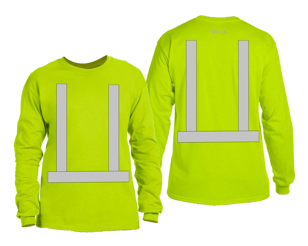 ANSI Reflective Long Sleeve Shirt - Front & Back - Safety Green