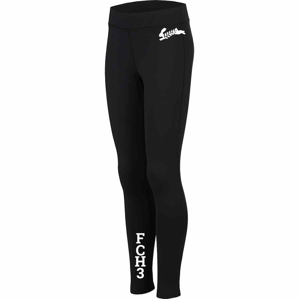 WOMEN'S REFLECTIVE TIGHTS - FLOUR CITY H3 - FCH3 - Front - Black