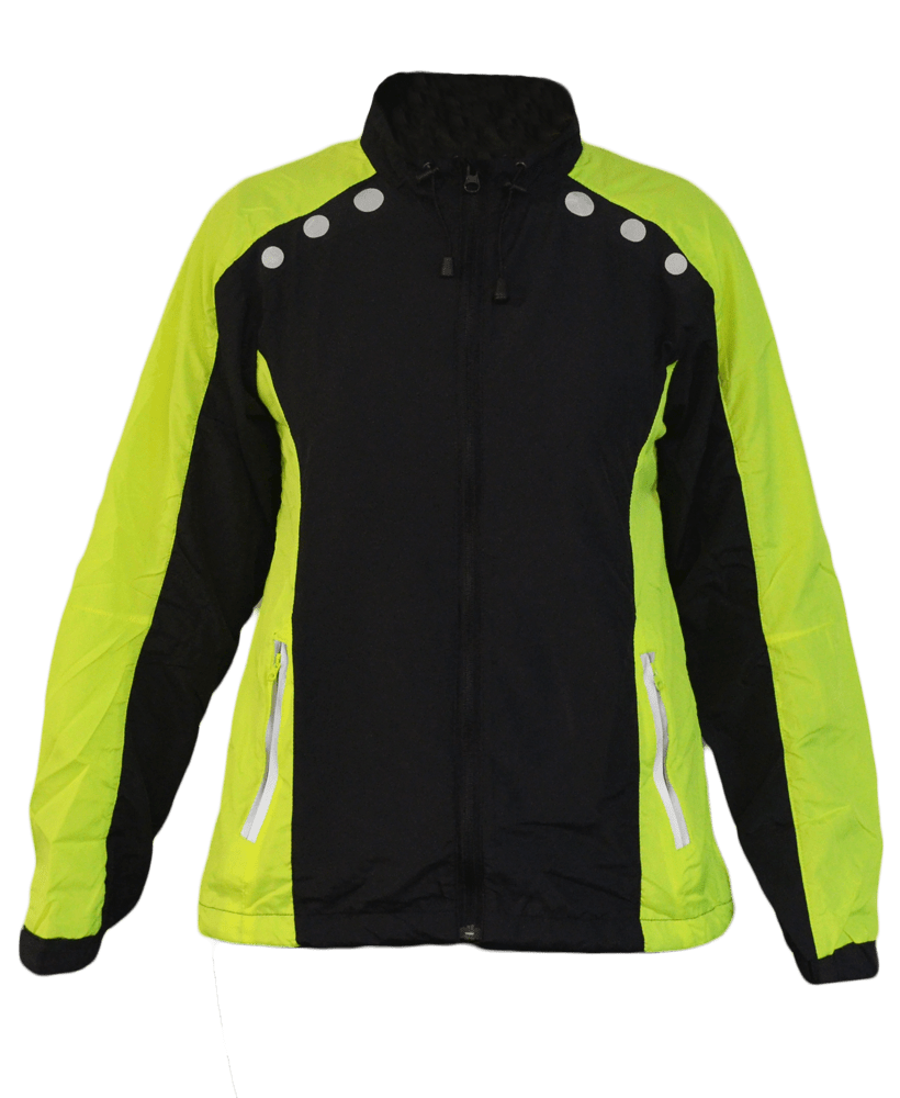 Women's Reflective Windbreaker - Black & Lime - Front