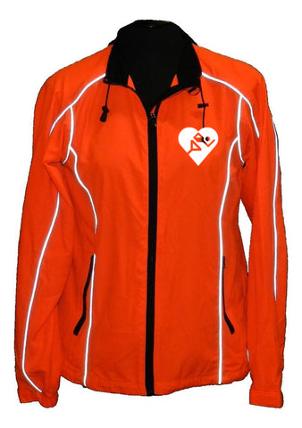 Women's Reflective Windbreaker - Orange - Cardiac Athletes .Org - Front