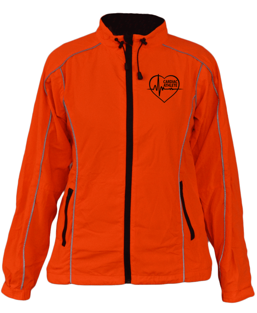 WOMEN'S REFLECTIVE WINDBREAKER - ORANGE - CARDIAC ATHLETE - Front