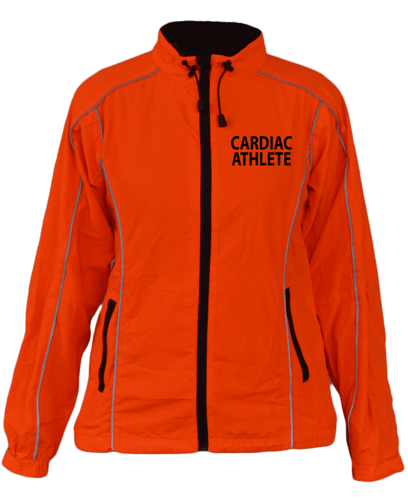 WOMEN'S REFLECTIVE WINDBREAKER - ORANGE - CARDIAC ATHLETE - Design 2 - Front