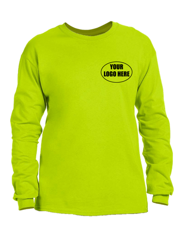 High Visibility Long Sleeve Shirt With Custom Logo - Front - Safety Green