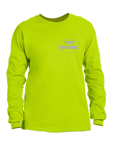 High Visibility Long Sleeve Shirt With Reflective Custom Logo - Front - Safety Green