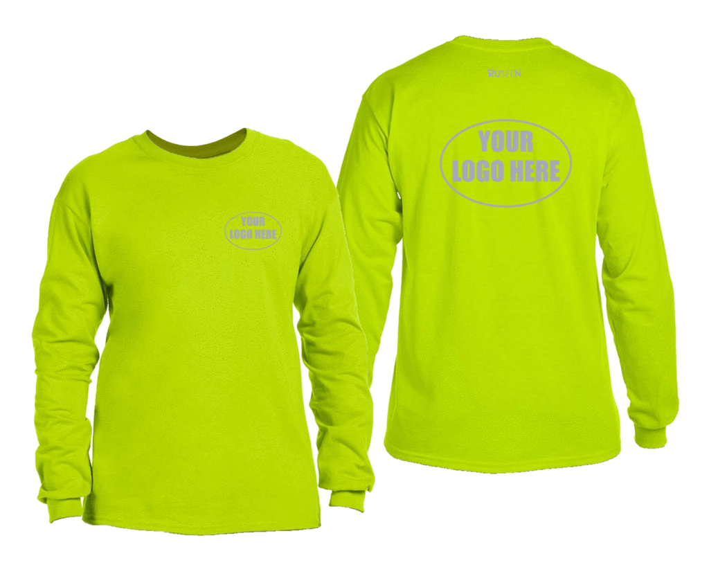 High Visibility Long Sleeve Shirt With Reflective Custom Logo - Front & Back - Safety Green