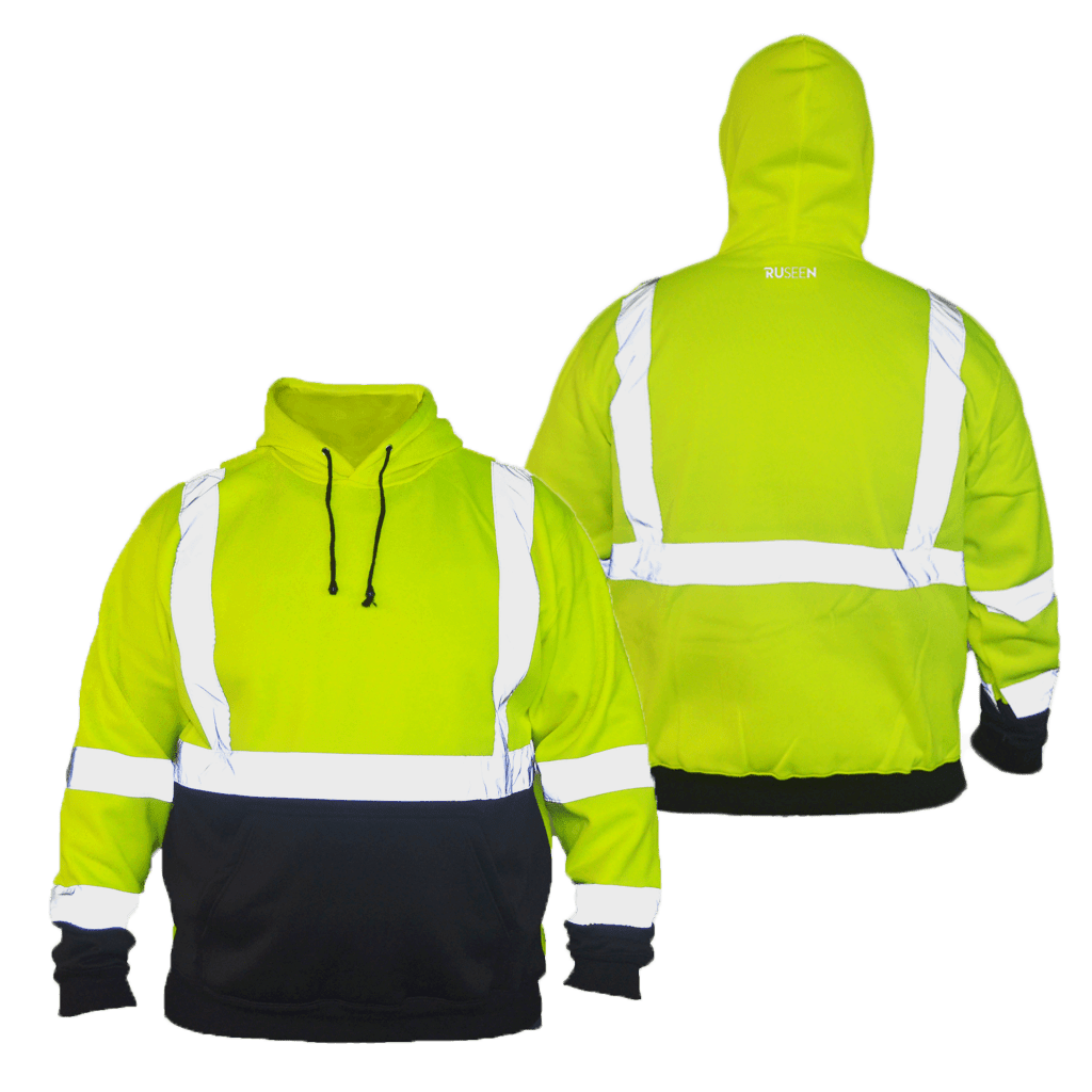 Class 3 ANSI 2-Tone Reflective Hoodie - Front & Back - Safety Yellow