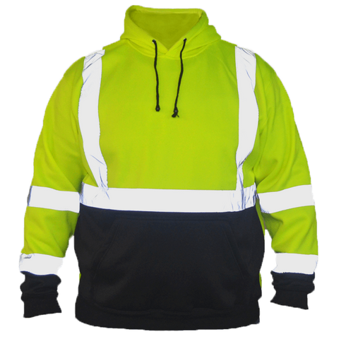 Class 3 ANSI 2-Tone Reflective Hoodie - Front - Safety Yellow