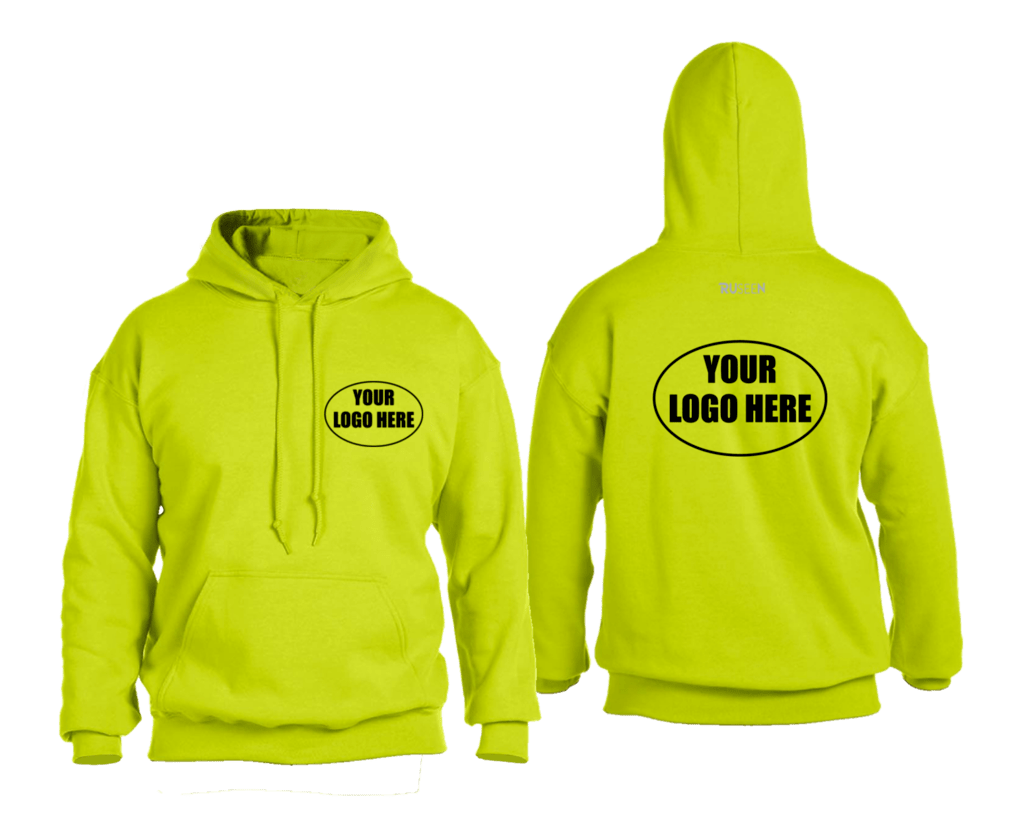 High Visibility Graphic Hoodie Sweatshirt Custom - Front & Back - Safety Yellow
