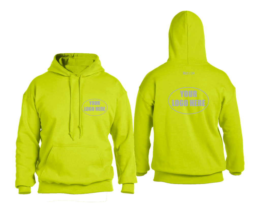 High Visibility Reflective Hooded Sweatshirt w/ Custom Logo - Front & Back - Safety Yellow