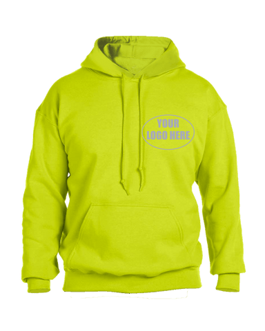 High Visibility Reflective Hooded Sweatshirt w/ Custom Logo - Front - Safety Yellow