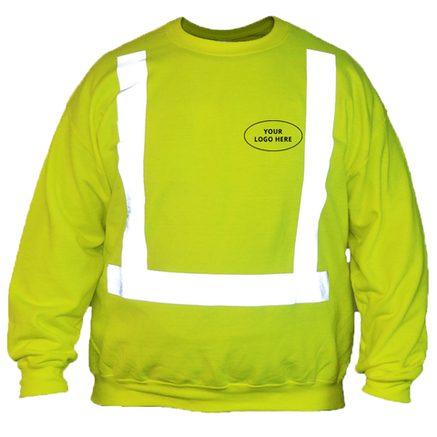 ANSI Reflective Sweatshirt with Custom Logo - Front - Safety Yellow