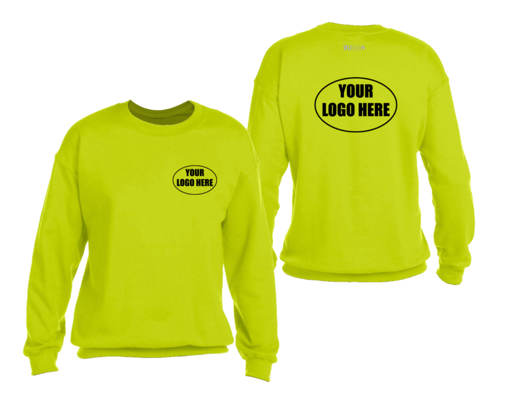 High Visibility Graphic Sweatshirt With Custom Logo - Front & Back - Safety Yellow