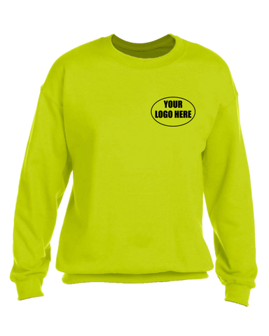 High Visibility Graphic Sweatshirt With Custom Logo - Front - Safety Yellow