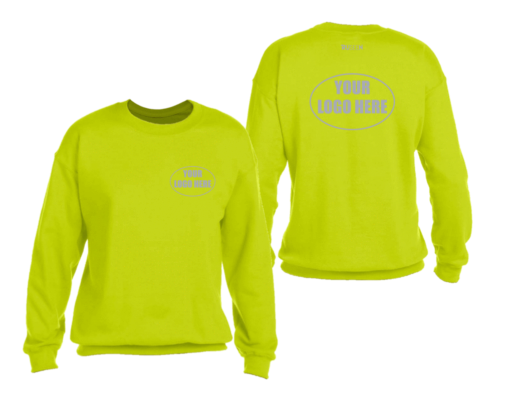 High Visibility Reflective Sweatshirt With Custom Logo - Front & Back - Safety Yellow