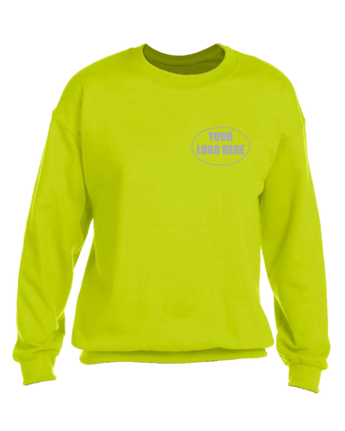 High Visibility Reflective Sweatshirt With Custom Logo - Front - Safety Yellow