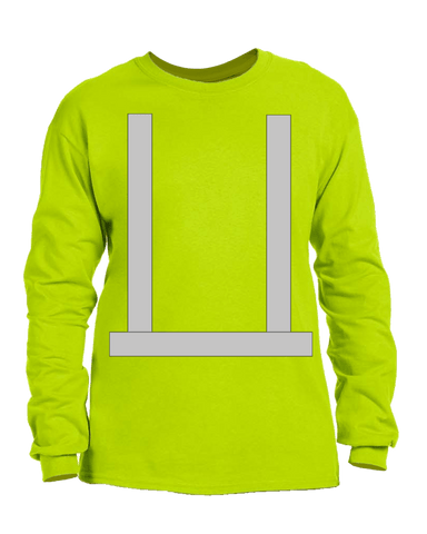 ANSI Reflective Long Sleeve Shirt - Front - Safety Green