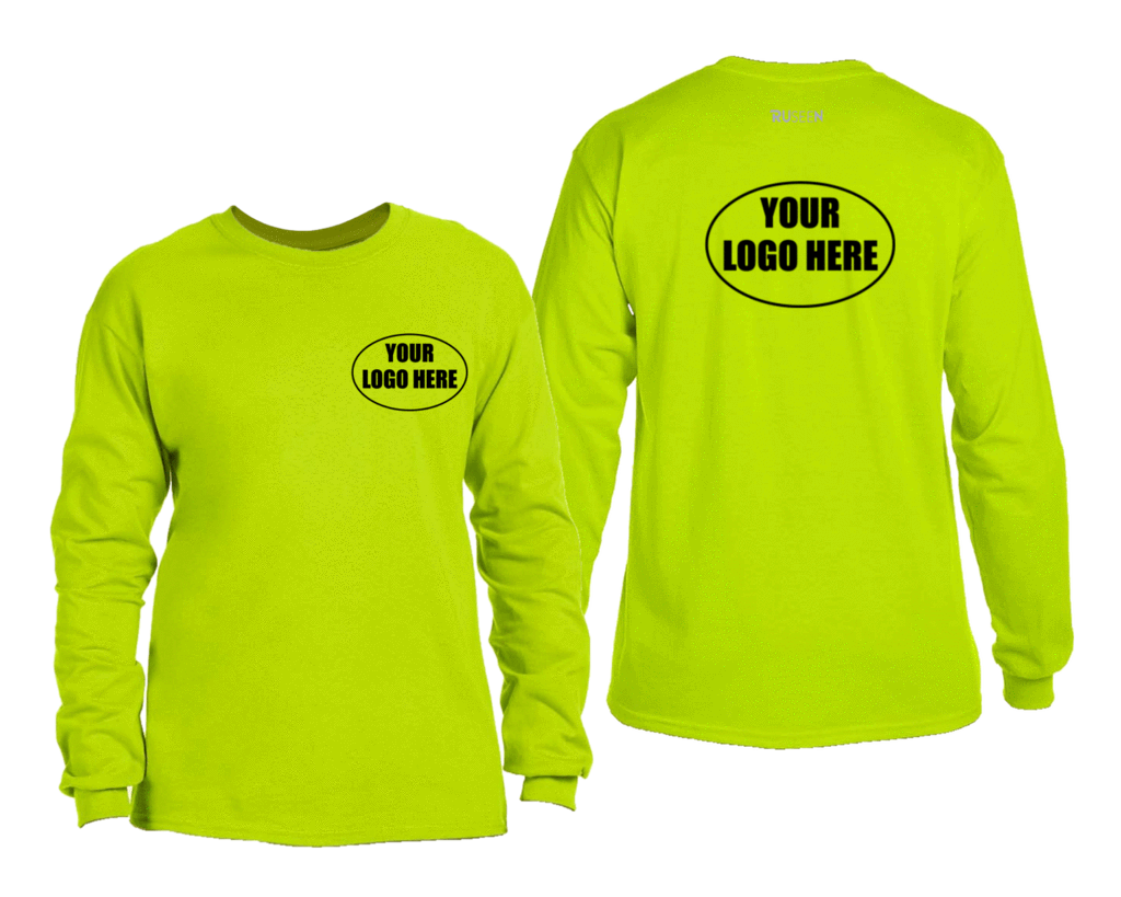 High Visibility Long Sleeve Shirt With Custom Logo - Front & Back - Safety Green