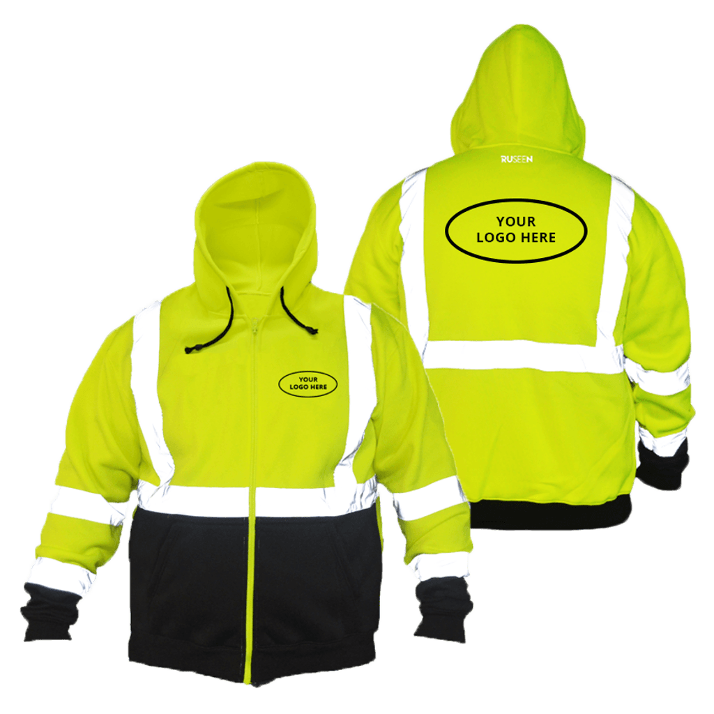 Class 3 ANSI 2-Tone Zip Reflective Hoodie with Logo - Front & Back - Safety Yellow
