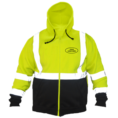 Class 3 ANSI 2-Tone Zip Reflective Hoodie with Logo - Front - Safety Yellow