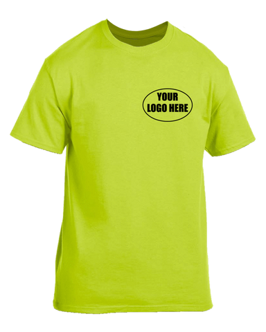 High Visibility Short Sleeve Graphic Shirt With Custom Logo - Front - Safety Yellow