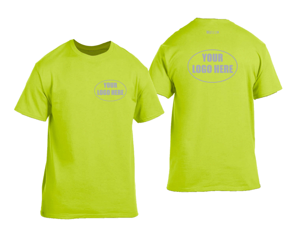 High Visibility Short Sleeve Shirt With Reflective Custom Logo - Front & Back - Safety Green
