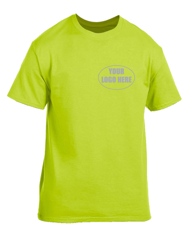 High Visibility Short Sleeve Shirt With Reflective Custom Logo - Front - Safety Green