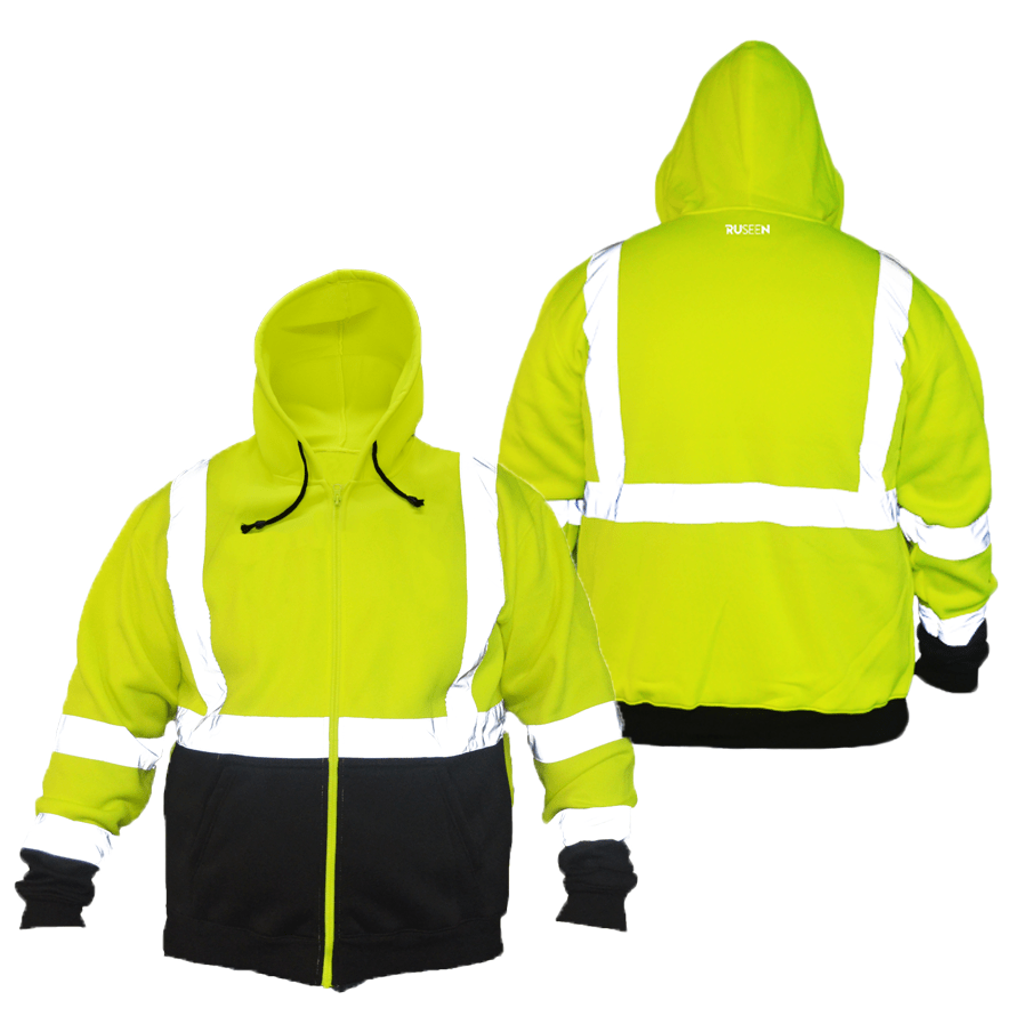 Class 3 ANSI 2-Tone Zip Reflective Hooded Sweatshirt - Front & Back - Safety Green