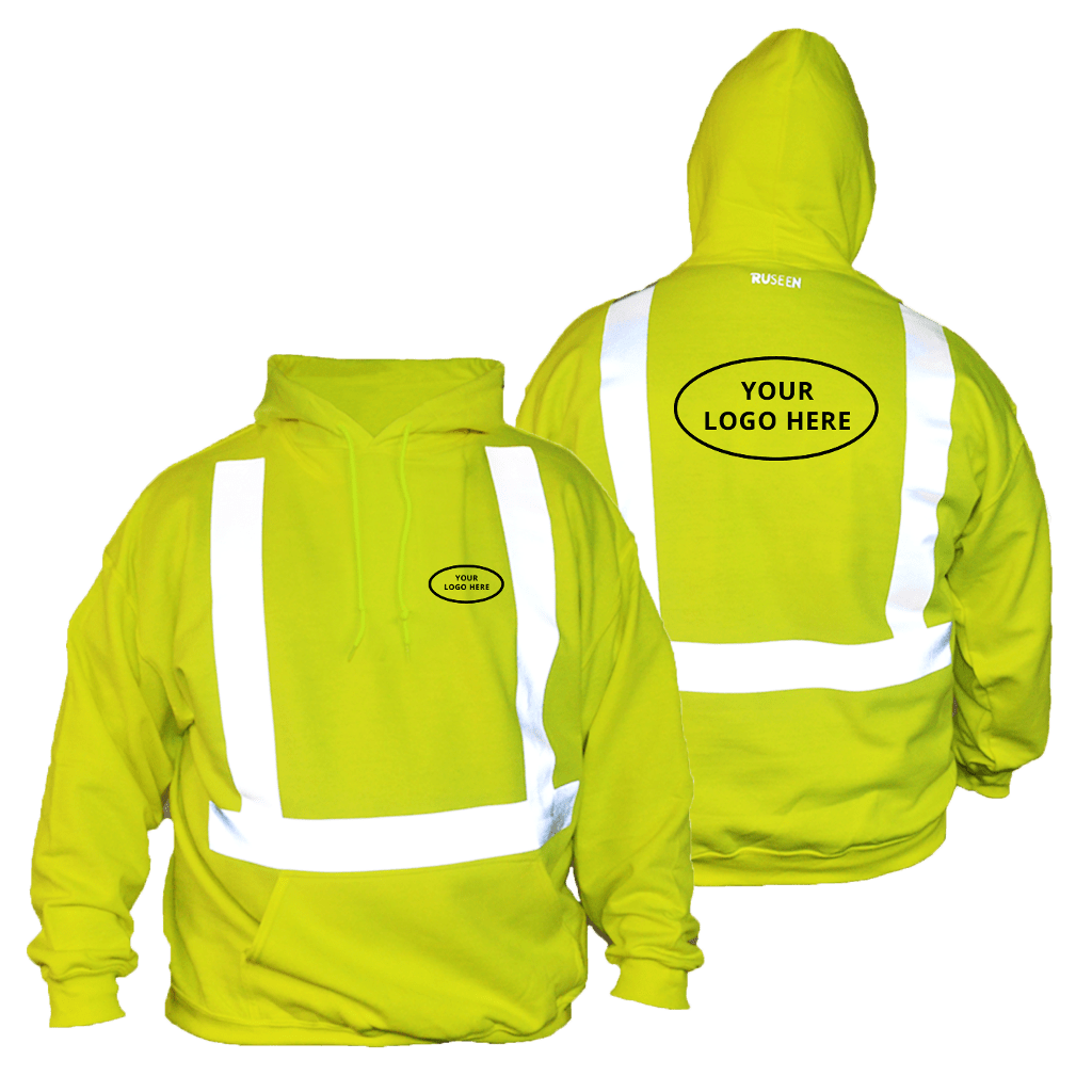 ANSI Reflective Hoodie with Logo - Front & Back - Safety Yellow