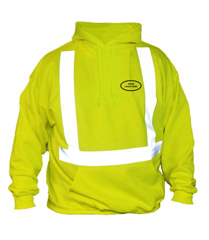 ANSI Reflective Hoodie with Logo - Front - Safety Yellow
