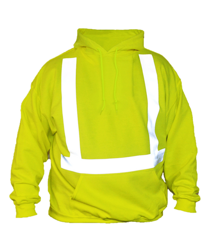 ANSI Reflective Hooded Sweatshirt - Front - Safety Yellow