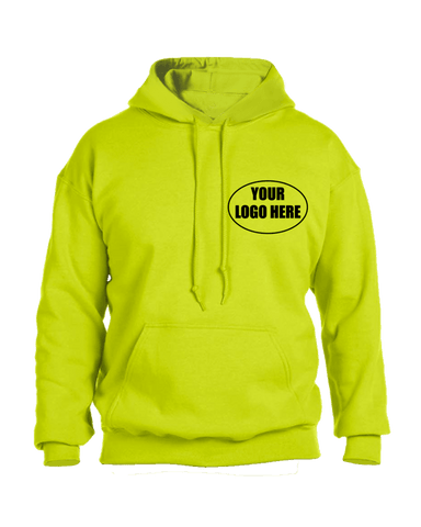 High Visibility Graphic Hoodie Sweatshirt Custom - Front - Safety Yellow