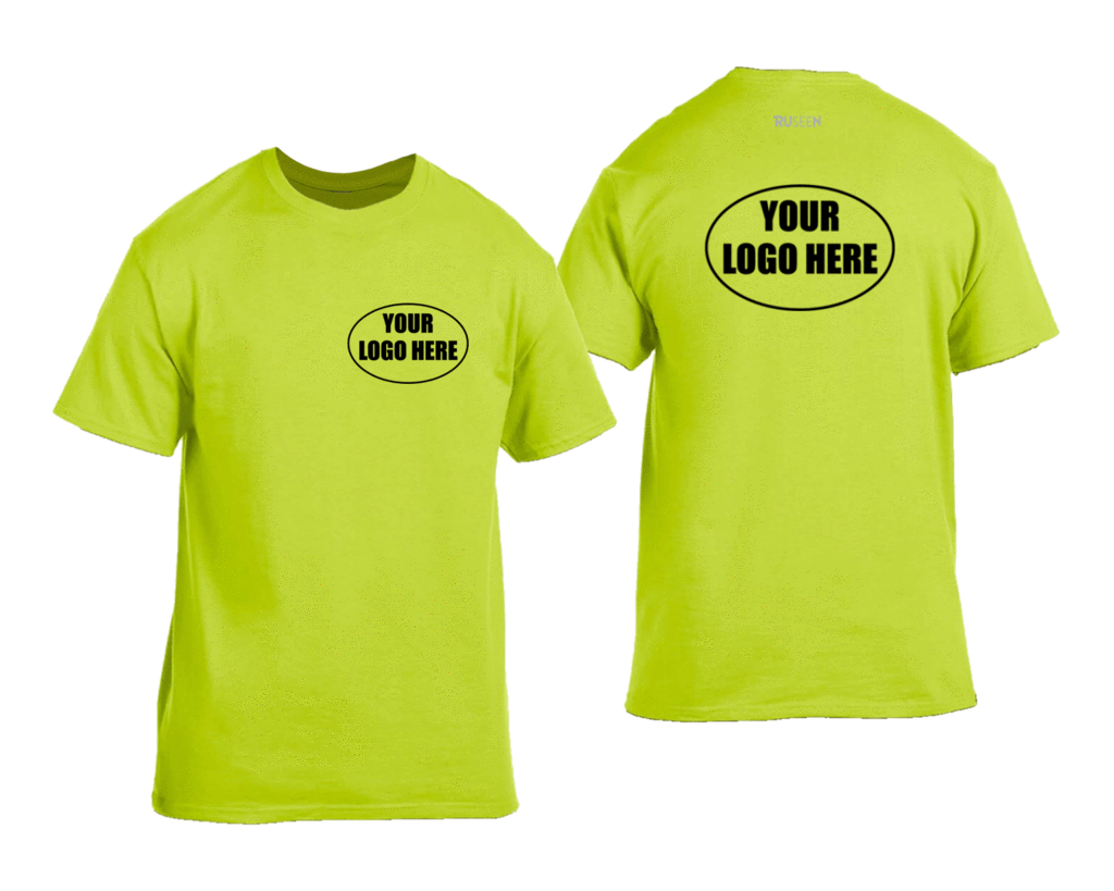 High Visibility Short Sleeve Graphic Shirt With Custom Logo - Front & Back - Safety Yellow