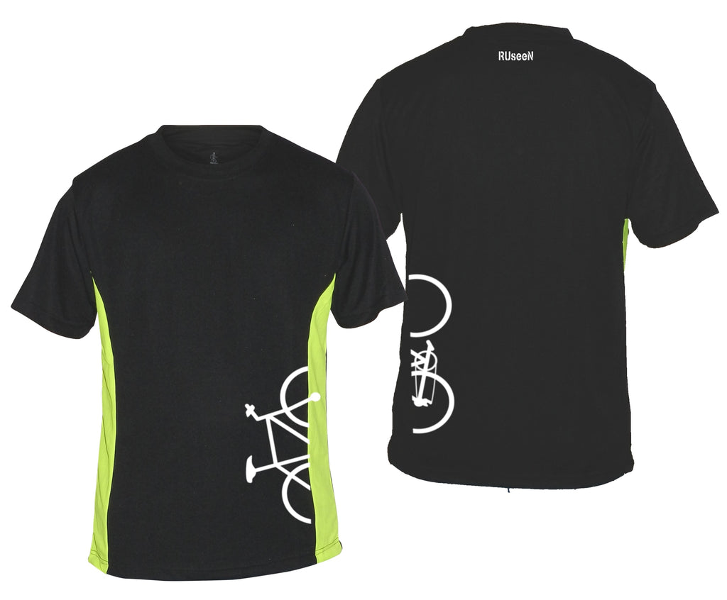 Men's Reflective Short Sleeve Shirt - Broken Bike - Black w/ Lime Sides