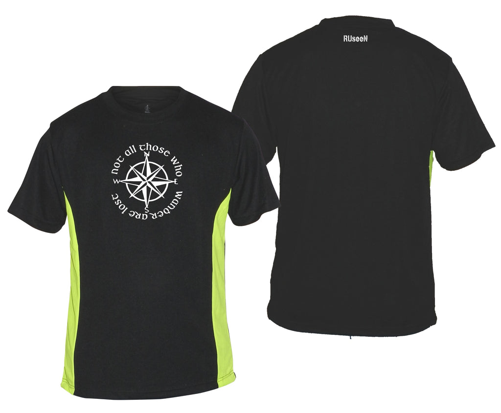Men's Reflective Short Sleeve Shirt - Compass -  Black w/ Lime Sides 2